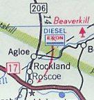 Fikcyjna miejscowość Agloe na oryginalnej mapie