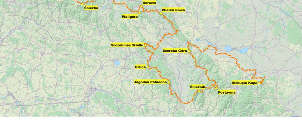 Szlak Korony Polskich Sudetów - mapa poglądowa